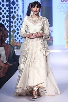 Ivory Embroidered & Woven Anarkali Set by RAR Studio