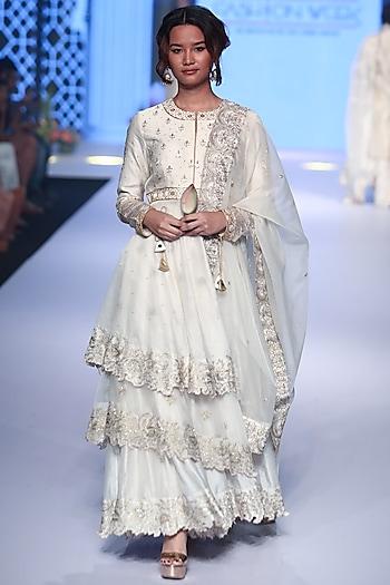 Ivory Embroidered Layered Anarkali Set by RAR Studio
