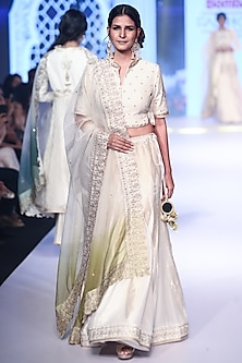 Ivory Embroidered & Woven Lehenga Set by RAR Studio