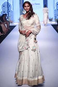 Ivory Embroidered Chanderi Lehenga Set by RAR Studio