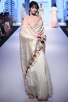 Ivory Embroidered Half & Half Saree Set by RAR Studio