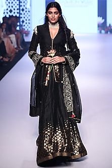 Black Embroidered Jacket Lehenga Set by RAR Studio