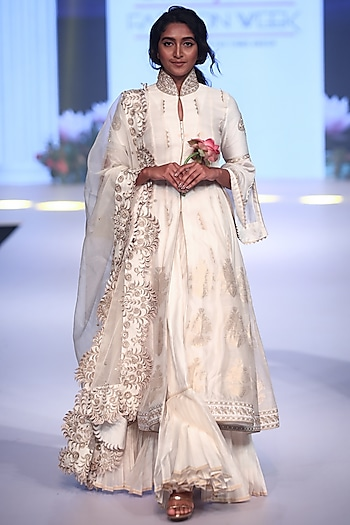 Ivory Embroidered Jacket Style Anarkali Set by RAR Studio