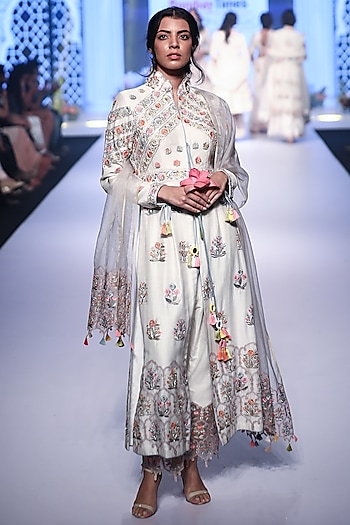 Ivory Thread Embroidered Anarkali Set by RAR Studio