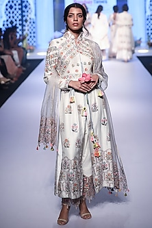Ivory Thread Embroidered Anarkali Set by RAR Studio