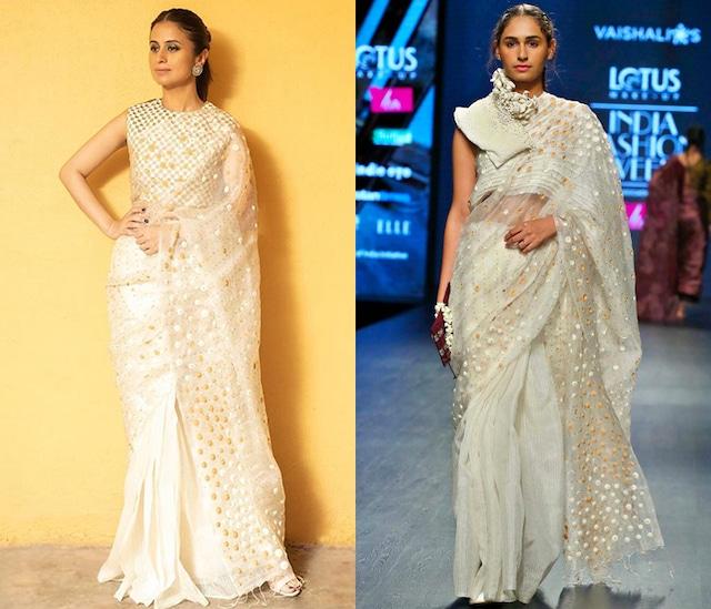White Embroidered Saree Set by Vaishali S