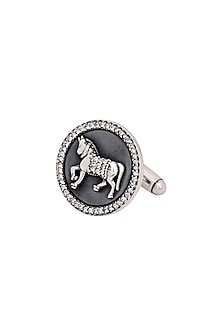 Silver Finish Sparkling Horse Cufflinks by Rohit Bal Men X Confluence