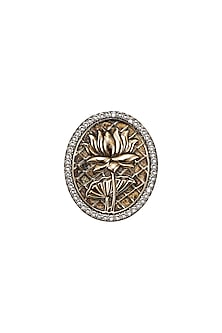 Gold Finish Signature Lotus Brooch by Rohit Bal Men X Confluence