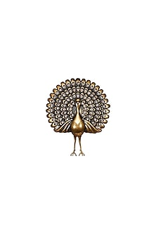 Gold Finish Dancing Peacock Brooch by Rohit Bal Men X Confluence