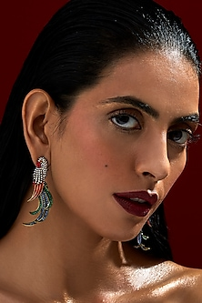 Gold Finish Parrot Earrings With Swarovski Crystals by Rohit Bal X Confluence