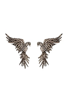 Gold Finish Falcon Earrings With Swarovski Crystals by Rohit Bal X Confluence-EDITOR'S PICK