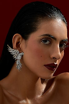 Gold Finish Falcon Earrings With Swarovski Crystals by Rohit Bal X Confluence
