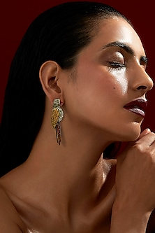 Gold Finish Bulbul Earrings With Swarovski Crystals by Rohit Bal X Confluence