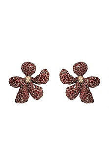 Gold Finish Stud Earrings With Swarovski Crystals by Rohit Bal X Confluence