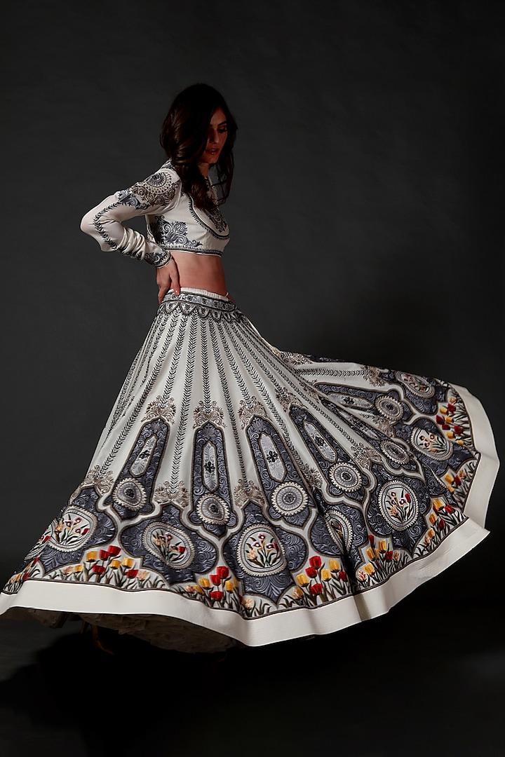 Ivory Lehenga Set With Machine Embroidery by Rohit Bal