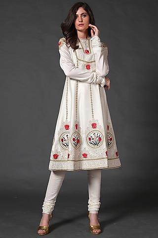 Ivory Machine & Hand Embroidered Kurta Set by Rohit Bal