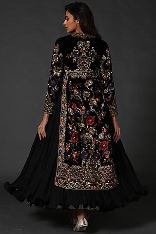 Black Machine & Hand Embroidered Anarkali Set by Rohit Bal