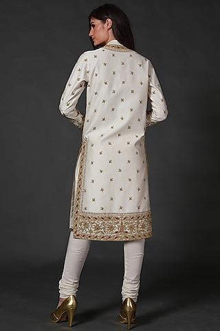 Ivory Machine And Hand Embroidered Kurta Set by Rohit Bal