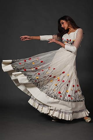 Ivory Anarkali Set With Machine Embroidery by Rohit Bal