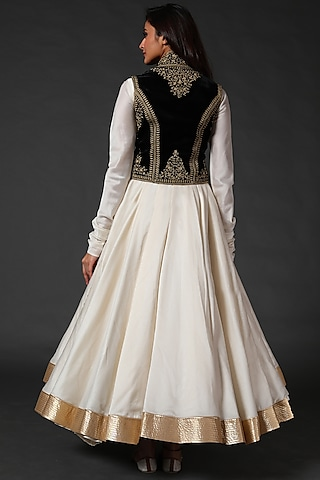 Ivory Anarkali Set With Embroidered Koti by Rohit Bal