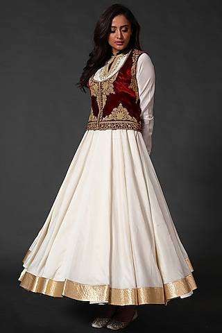 Ivory Anarkali Set With Wine Embroidered Koti by Rohit Bal