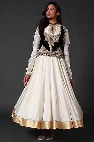 Ivory Anarkali Set With Black Embroidered Koti by Rohit Bal