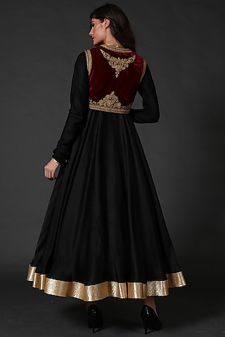 Black Anarkali Set With Embroidered Koti by Rohit Bal