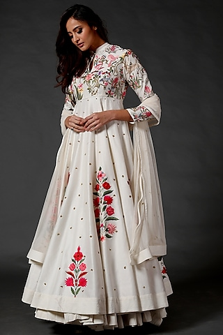 Ivory Embroidered Anarkali Set by Rohit Bal
