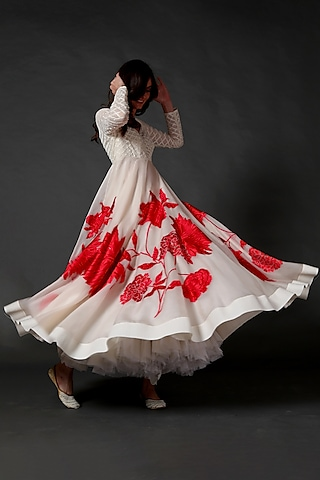 Ivory Organza Embroidered Anarkali Set by Rohit Bal