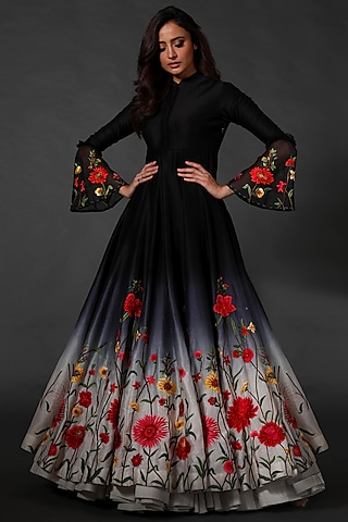 Black Ombre Machine Embroidered Anarkali Set by Rohit Bal