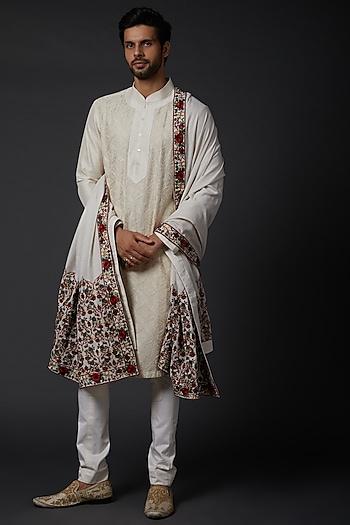 Ivory Linen Shawl by Rohit Bal Men