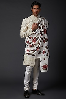 Ivory Printed Linen Shawl by Rohit Bal Men