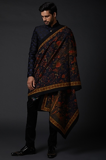 Indigo Blue Shawl With Digital Print by Rohit Bal Men