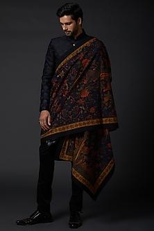 Indigo Blue Shawl With Digital Print by Rohit Bal Men