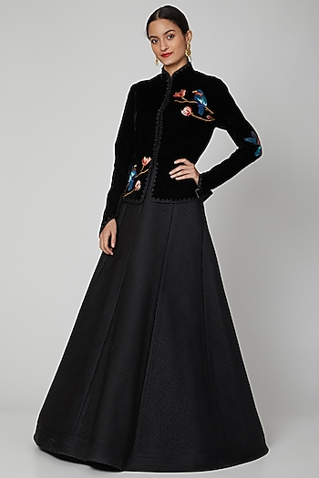 Black Machine Embroidered Jacket by Rohit Bal