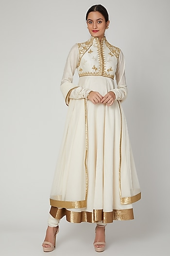 Ivory Embroidered Chanderi Anarkali Set by Rohit Bal