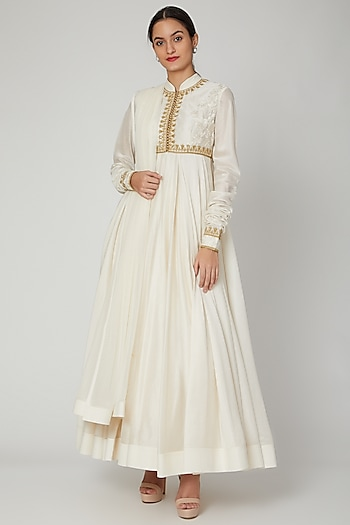 Ivory Aari Embroidered Anarkali Set by Rohit Bal