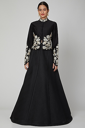Black Jacket With Potli Buttons by Rohit Bal