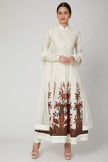 Ivory Hand Embroidered Anarkali Set by Rohit Bal