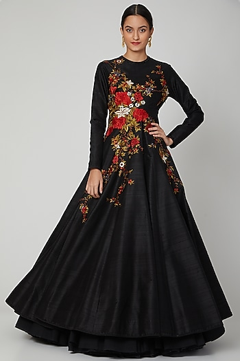 Black Embroidered Anarkali Set by Rohit Bal