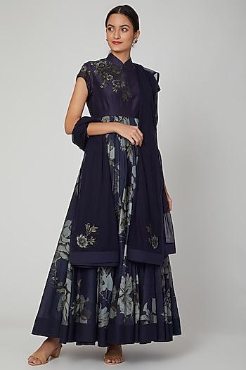 Indigo Blue Printed & Embroidered Anarkali Set by Rohit Bal