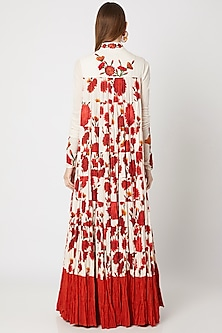 Ivory Printed Embroidered Anarkali With Dupatta by Rohit Bal
