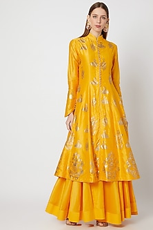 Yellow Foil Printed Kurta With Skirt by Rohit Bal-SHOP BY STYLE