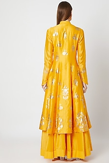 Yellow Foil Printed Kurta With Skirt by Rohit Bal