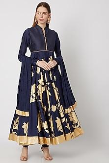 Indigo Blue Foil Printed Anarkali Set by Rohit Bal