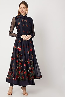 Midnight Blue Digital Printed Anarkali Set by Rohit Bal
