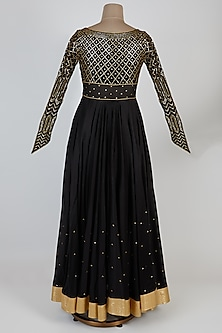 Black Cotton Silk Anarkali Set by Rohit Bal