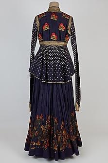 Indigo Blue Skirt Set by Rohit Bal