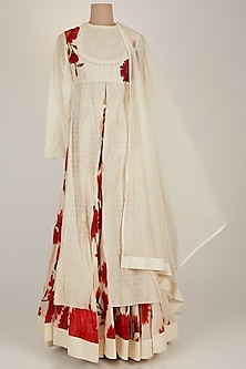 White Printed Anarkali Set by Rohit Bal