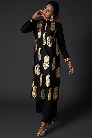 Black Block Printed Kurta Set by Balance by Rohit Bal